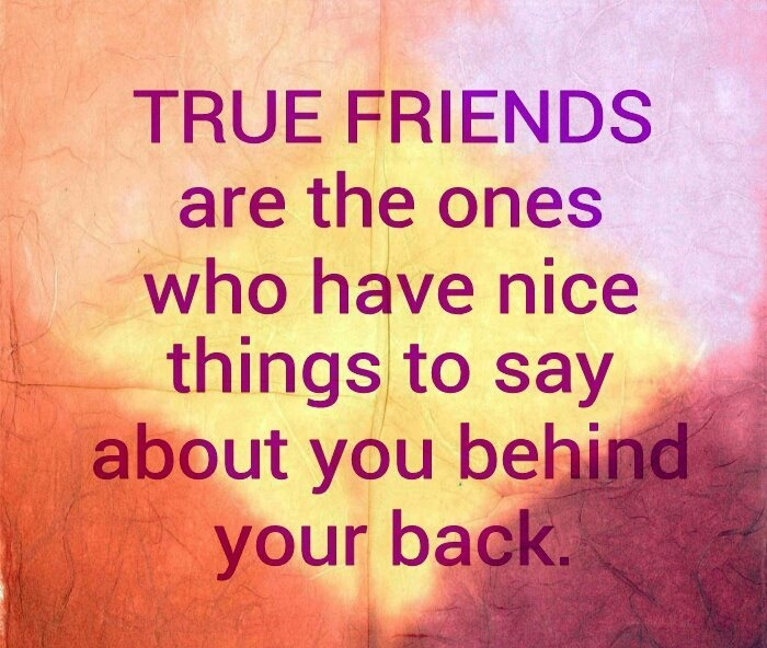 Quotes About Having A Friends Back : True friends are the ones who have nice things to say