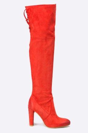 Buty - Carinii - Kozaki za kolano czerwone