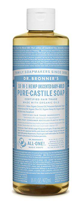 Dr. Bronner's Magic Soap Organic Baby-Mild Pure Castile Soap Liquid, 16-Ounce