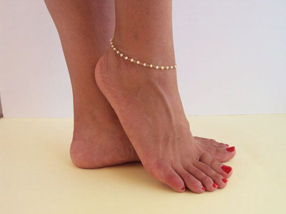 Dainty Gold Anklet Pearl Ankle Bracelet by VasiaAccessories