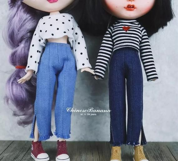 DIY Dress up Clothes Denim Pants Outfits for Blythe Dolls Casual Wear