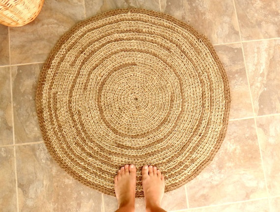 Crochet Rug, Natural Hemp/Jute Rope