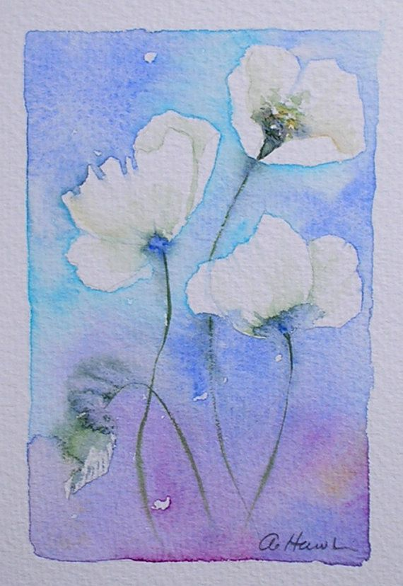 WHITE POPPIES original small watercolour painting artist Amanda Hawkins 9 x 14cm…
