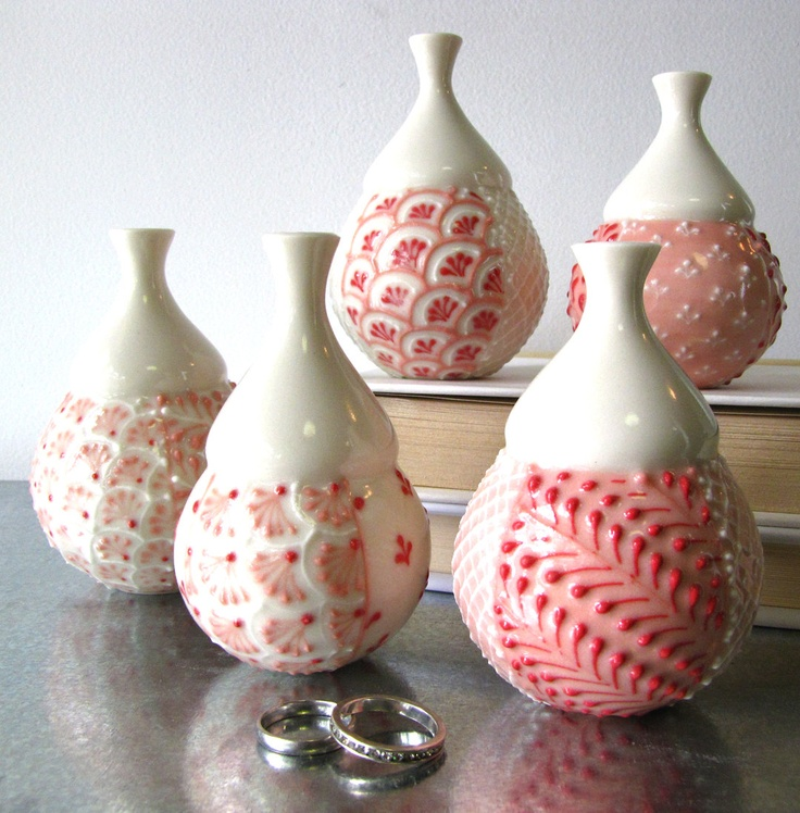 Single Red and Pink Bud Vase