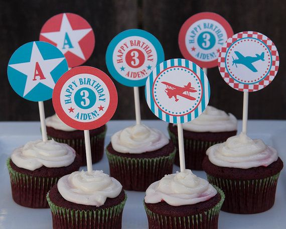 Vintage airplane boys birthday party cupcake toppers.