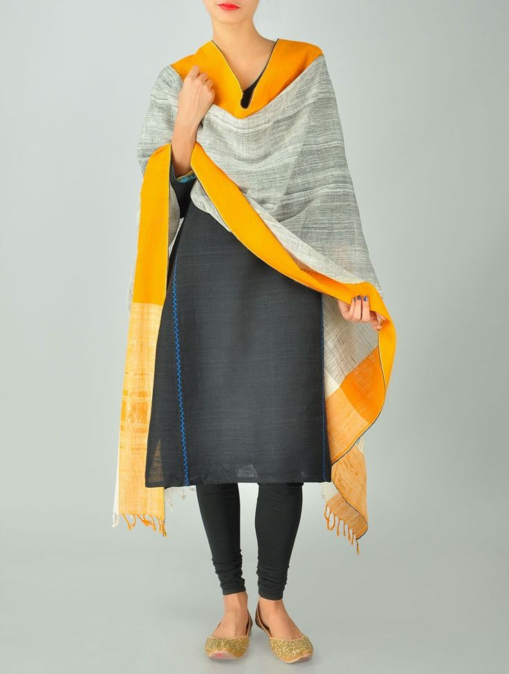 Grey-Yellow Cotton & Tissue Dupatta by Fluent Khadi -- handspun organic khadi cotton and tissue dupatta made using three shuttle weave with the finest quality metallic yarn from Varanasi.