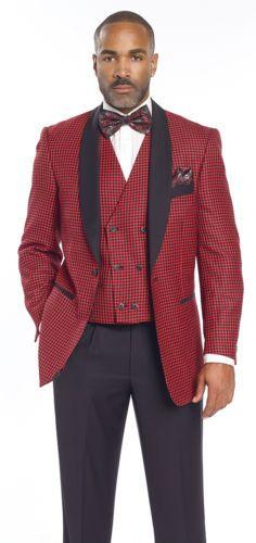 Mens-Designer-Blazer-Suit-3-Piece-Black-Red-Checked-M2699-Christmas-Holiday-Men