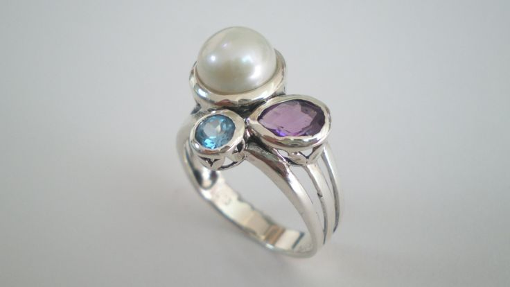 Handmade Silver Ring with a Natural Pearl. and Amethysts by IoJewellery on Etsy