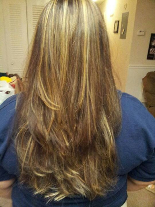 Long hair with layers  chocolate brown caramel highlights by Becca B