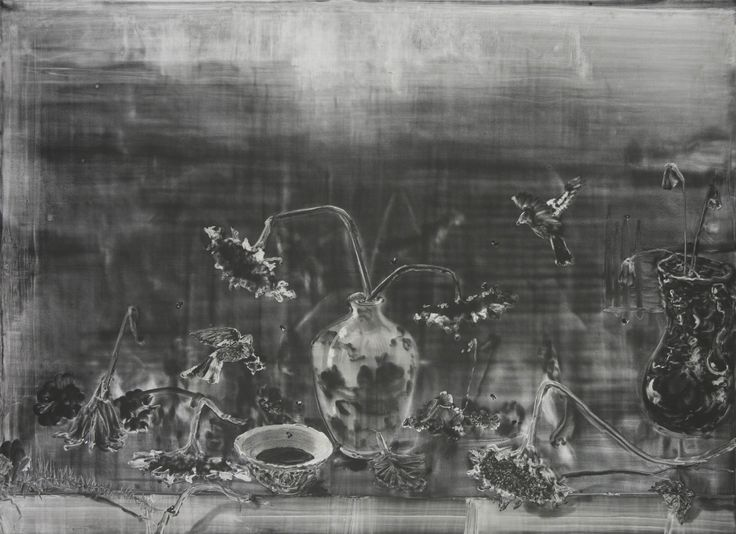 Christopher Cook 'Sunflowers with bowl of ink'   graphite and oil on paper 72 x 102 cm 2016. An early work from a continuing series of still life works based on the 17th century Dutch genre.
