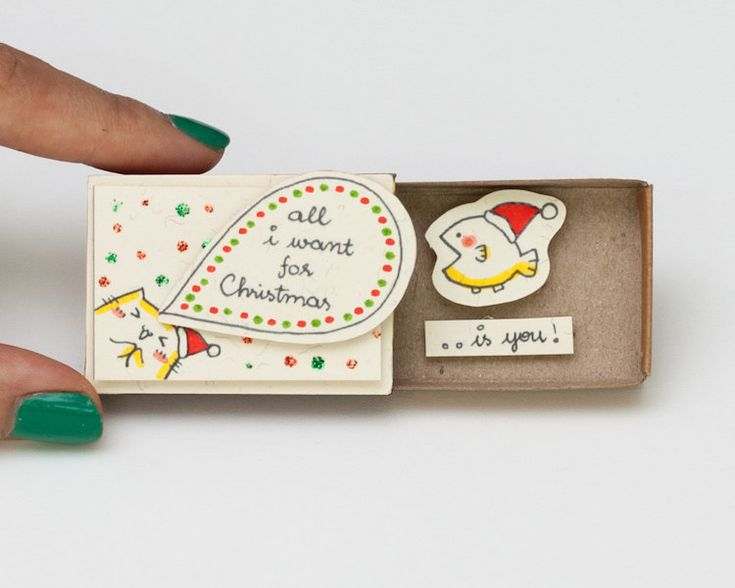 Each matchbox greeting card includes handmade illustrations with quirky, adorable messages.