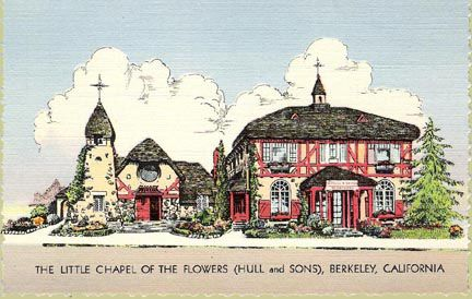 The Little Chapel of the Flowers, Berkeley, California (postcard ca. 1943) The Hull & Durgin funeral home with its Little Chapel of the Flowers (built in 1923 and 1928, respectively) on Adeline Street is one of Berkeley's most remarkable examples of Storybook-style architecture. In addition to serving as a mortuary chapel, the chapel was a popular wedding chapel during the '40s and '50s. Later connverted to offices and shops, the chapel has been the home of Marmot Mountain Works since 1976.: Hull Durgin, Wedding Chapels, Built In, Offices, Durgin Funeral, Flower Built, California Postcards, Funeral Homes