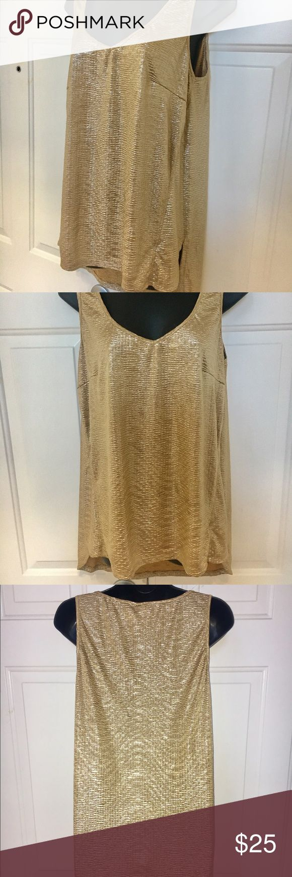 LabWorks Metallic Gold high low Camisole Top XXL P Metallic gold Sleeveless Camisole by LabWorks. Size is XXL P which I believe is petite. Hem is lower in front and longer in back. Luxurious and color is absolutely stunning. Can be worn as a slip, nighty, Camisole, or paired with jeans or black slacks. Brand new. No tags. Tops Camisoles
