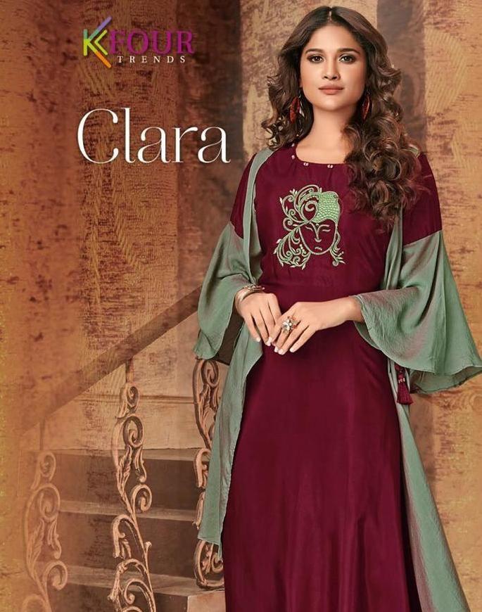 806ccfc075 kfour trends clara designer party wear kurtis wholesale clothing store in  surat - Krishna Creation