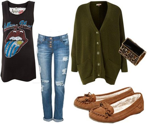 boyfriend jeans and a concert tank, along with this super snuggly oversized cardigan. Paired with fuzzy moccasins and a cool ring, this outfit is the ultimate in casual cute.