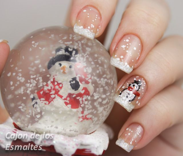 Uñas navideñas  Tutorial step by step snowman nail art for chrismas