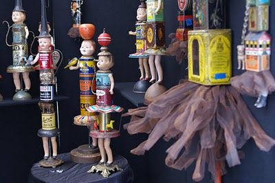 More vintage tins, antique doll parts, and salvaged metal are recycled into decorative doll sculptures by Primitive Twig: Biscuit Tins, Doll Sculptures, Vintage Tins, Art Doll, Upcycled Vintage, Altered Art, Vintage Tea