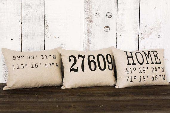 "Housewarming gift pillow, ""The Zip Code Coordinates"" name zip code pillow, wedding, moving, personalized pillow, linen, burlap, wedding"