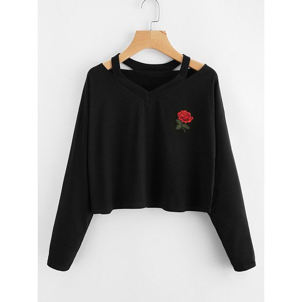 Cut Out Neck Rose Patch Tee (32 BRL) ❤ liked on Polyvore featuring tops