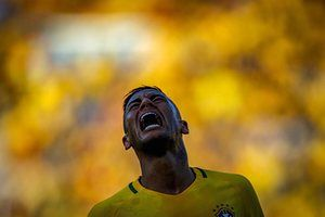 Neymar agonises during a friendly match between the Olympic football teams from Brazil and Japan at the Serra Dourada stadium in Goiania.