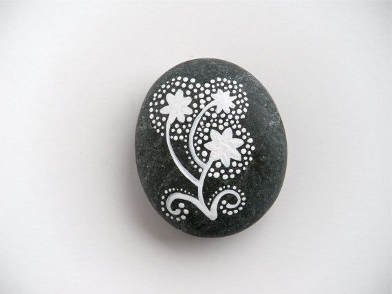 hand painted stone    make a wish on these dandelions  original design - one of a kind - painted by hand    a beach stone from puget sound  a