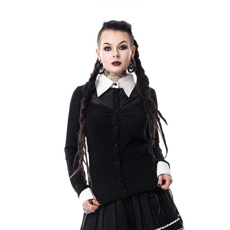 Wednesday cardigan met witte kraag zwart - Gothic metal emo