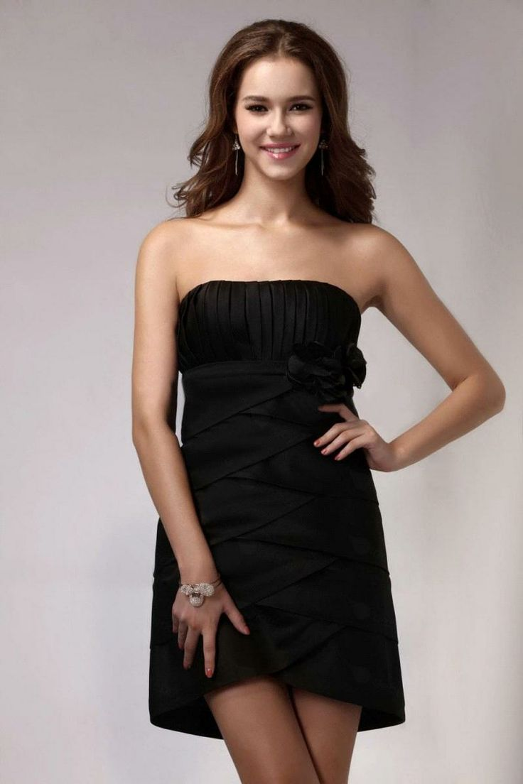 Black dress teenager - High Waist Sweetheart Sleeveless Flowers Short Mini Little Black Dresses For Juniors 002177