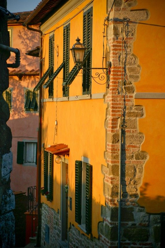 On a Street in Montecatini Alto - Tuscany, Italy - Fine art travel photography - windows, shutters, stone - Tuscan ochre, red, forest green