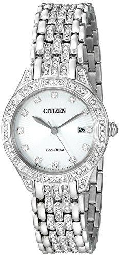 #citizenquartzwatch Citizen Eco-Drive Women's 'Silhouette' Quartz Stainless Steel Casual Watch, Color: Silver-Toned (Model: EW2320-55A) Check https://www.carrywatches.com