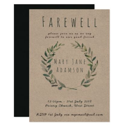 farewell leaving party invitation botanical kraft in 2018 diy