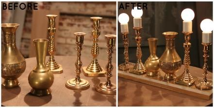 We love Lara's ingenious idea to use candlesticks as lamps. When clustered together, these unique light fixtures provide tons of light and add interest to any room.