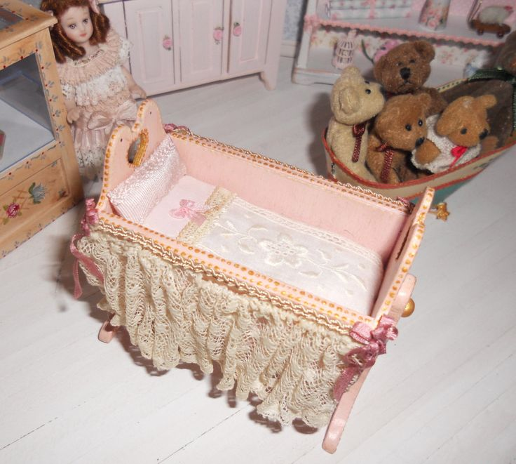 Sweet miniature baby cradle -handpainted- by Lolaminiatures on Etsy https://www.etsy.com/listing/171348423/sweet-miniature-baby-cradle-handpainted