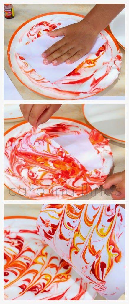 Tarjetas Marmoladas con espuma de afeitar | #Artividades