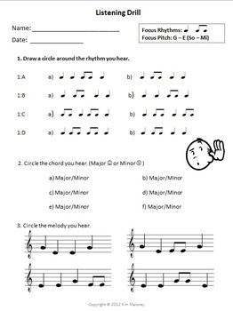 MUSIC Aural Worksheet: Listening Drill Template. FREE Download.