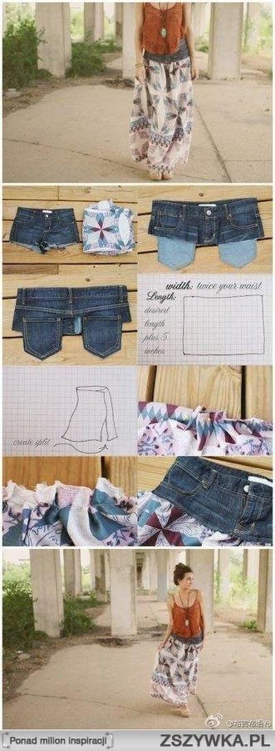Sehe dir das Foto von BloggerGirl mit dem Titel Von einer alten Jeans und schönem Stoff einen super schönen Boho Rock machen. und andere inspirierende Bilder auf Spaaz.de an.