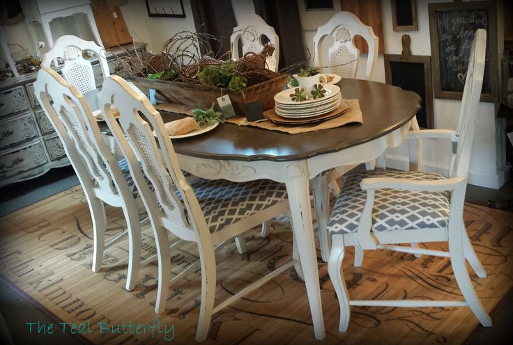 French Provincial dining table and 6 chairs.  Painted with Amy Howard One Step & Toscana Powder Paint. www.facebook.com/thetealbutterfly