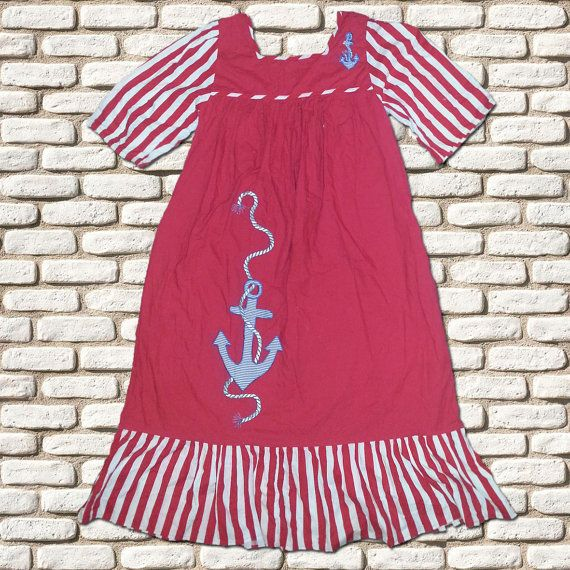 Red & White Anchor Motif Smock Dress by BessieMidge on Etsy, £22.00