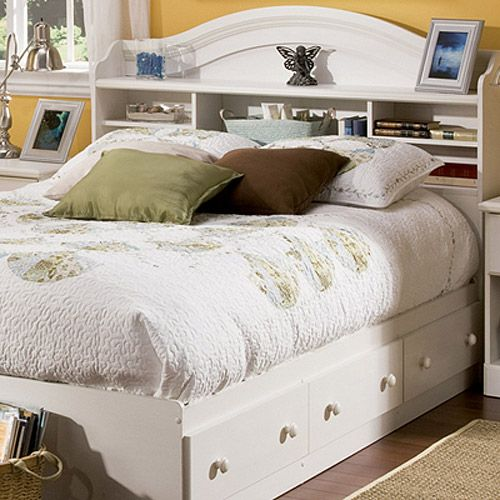 Full size bed south shore summer breeze full mates bed - Bedroom furniture bookcase headboard ...