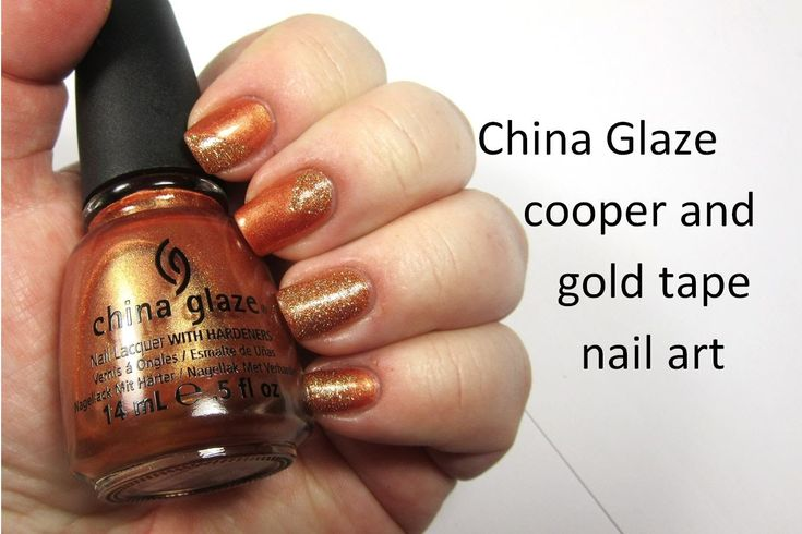 China Glaze Cooper and Golden Nail Art - nailhubnz