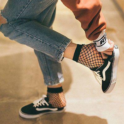 Women Fashion Black Fishnet Ankle High Sock Lady Lace Mesh Fish Net Short Socks