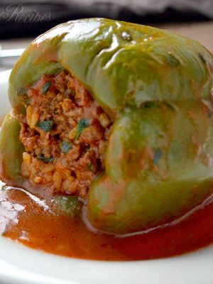 Turkish food - dolma - Slow cooker stuffed peppers.Beef and rice stuffed green bell peppers cooked in slow cooker.Delicious!!!