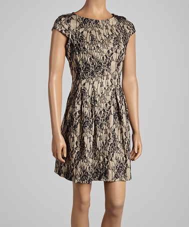 Look at this #zulilyfind! Sand & Black Lace Cap-Sleeve Dress by Gabby Skye #zulilyfinds
