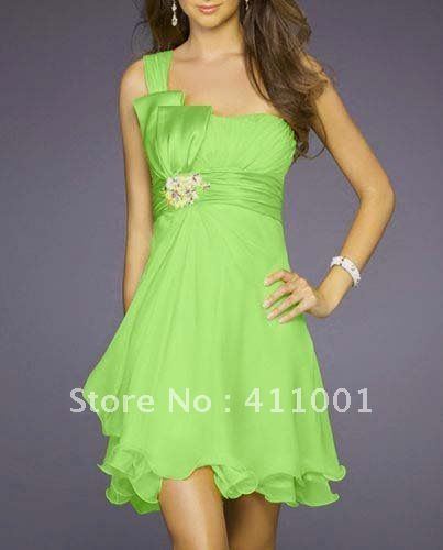 Lime Green One-shoulder Short Bowed Bridesmaid Dress Summer Dress All Sizes in stock Ready to ship on AliExpress.com. $39.00