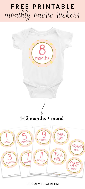 Free printable: Baby Girl Onesie Stickers