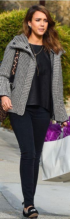 Who made Jessica Alba's leopard print bag and black print jacket?