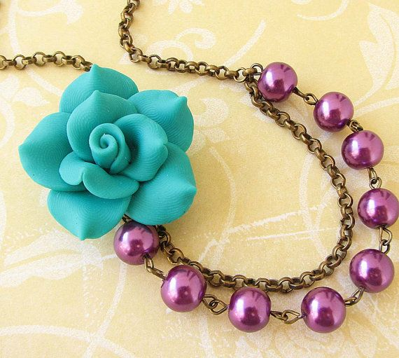 Flower Necklace Teal Necklace Purple Jewelry Bridesmaid Pearl Necklace Pearl Jewelry Bridal Gift Beadwork