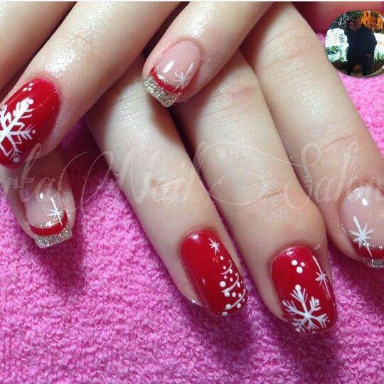 French Argento glitter rosso albero di natale fiocchi di neve