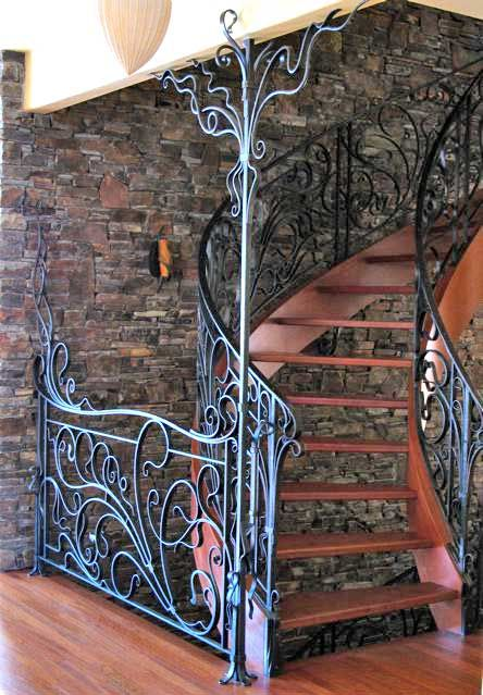Art Nouveau Wooden Stairs with Forged Steel Balusters and Railings  -  Kootenay Blacksmiths