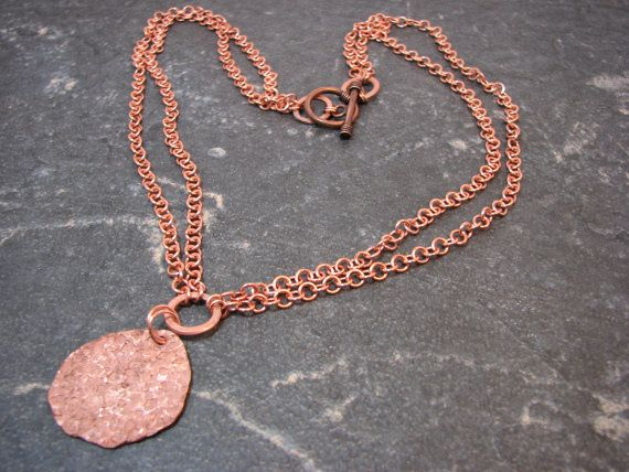 Copper Hammered Pendant on a Copper Handmade by melmacdesigns, $37.00