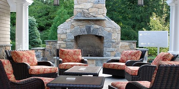 Charming and Stylish Stone Outdoor Fireplace Design